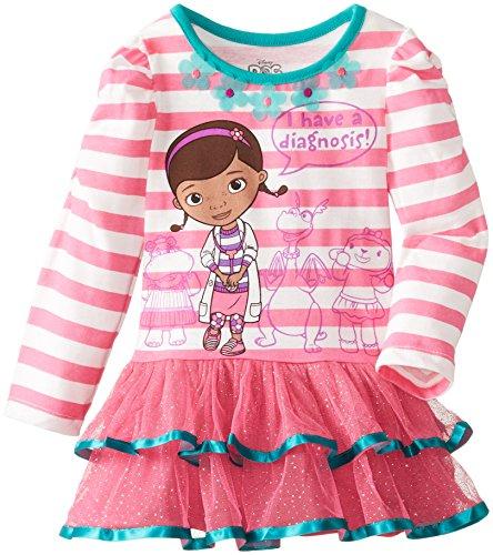 Disney Little Girls' Doc Mcstuffins 1 Pieced I Have A Diagnosis Dress, Beige, 6