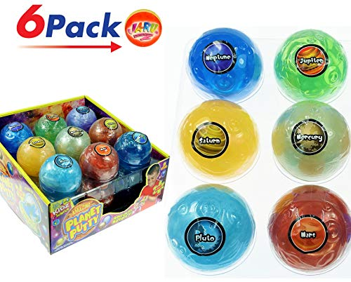 (Planet Putty Fun Educational Science Toy for Kids (Pack of 6) by JA-RU. Solar System Great Party Favor. 5459-6)