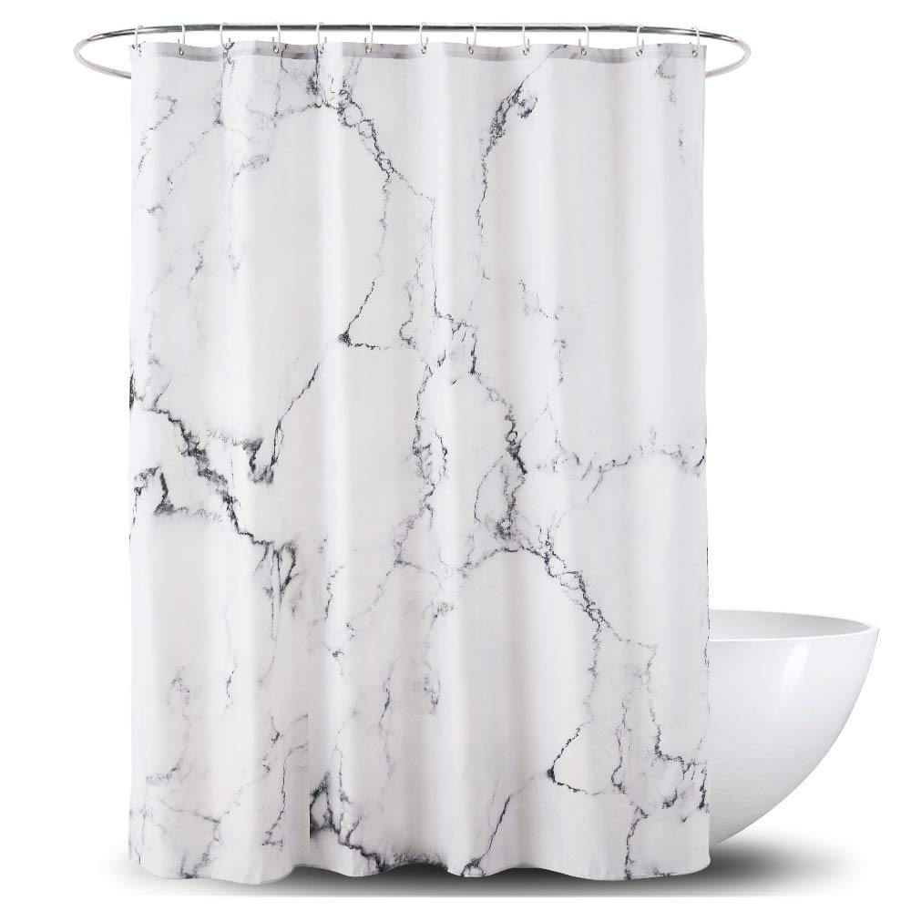 Yostev Marble Grey and White Bathroom Fabric Shower Curtain with Hooks,Unique 3D Printing,Decorative Bathroom Accessories,Water Proof,Reinforced Metal Grommets 72x72 Inches