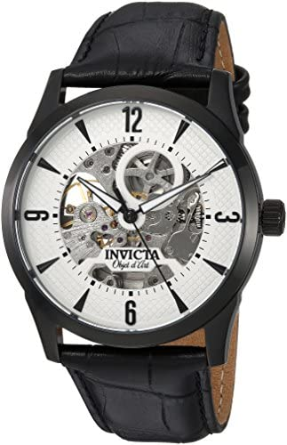 Invicta Men s Objet d Art Stainless Steel Automatic-self-Wind Watch with Leather-Calfskin Strap, Black, 23 Model 22639