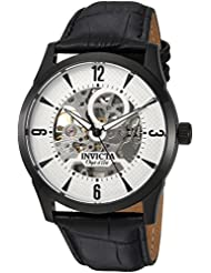 Invicta Mens Objet dArt Automatic Stainless Steel and Leather Casual Watch, Color:Black (Model: 22639)