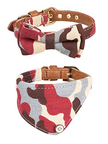 Gyapet Collar for Cat Small Dog Bandana Bowtie Puppy Kitten 2 Packs Adjustable Scarf Cute Camo camo-red