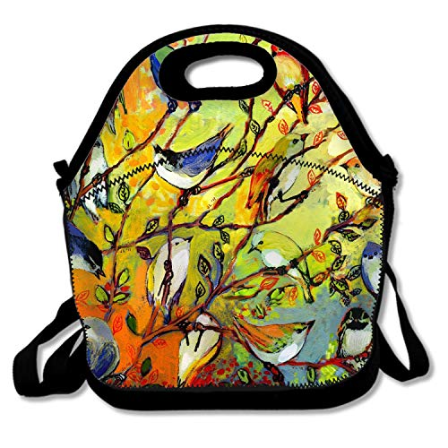 FONDTHEE Reusable Lunch Tote Bag for Women and Girls Kids Garden Tree Birds Gathering Medium Capacity with Adjustable Shoulder Strap for Work from FONDTHEE