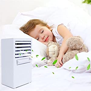 OVERMAL Personal Air Conditioner Fan Mini Evaporative Air Circulator Cooler Humidifier (WHITE)