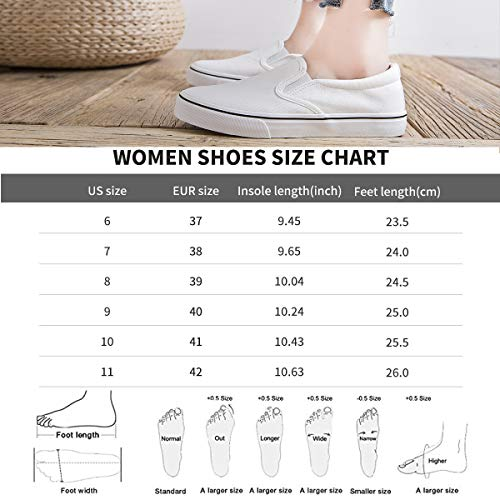 Women's Canvas Slip On Sneakers Fashion Flats Shoes White Canvas Shoes(11.White)