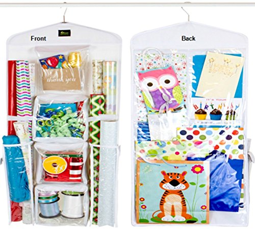 (Dual Sided Vertical Gift Wrap Organizer, Wrapping Paper Organizer, Paper Storage System, Gift Bag Organizer and Gift Paper Storage Bag for All Your Gift Wrapping Supplies from)