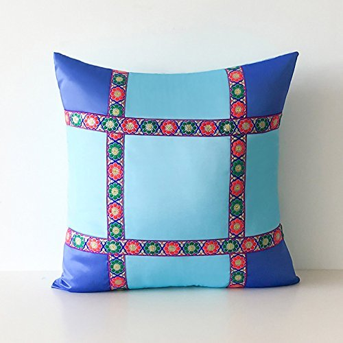 HOMEE I Love the Artist'S Original Mediterranean Living Room Blue Tower Poplin Stitching of Minimalist Solid Color Pillow Sofa Cushion ,30X50Cm, Birds Blue,Light Blue,60X60cm
