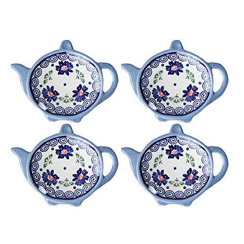 Wiza Ceramic Tea Bag Coasters, Teabag Caddy Holder Plate Tidy, Polish Pottery, 4 inch, Set of 4 by Wiza (Image #3)