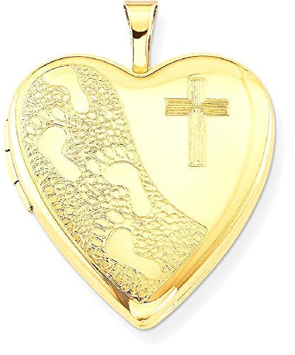 ICE CARATS 1/20 Gold Filled 20mm Cross Religious Footprint Heart Photo Pendant Charm Locket Chain Necklace That Holds Pictures W/chain Fashion Jewelry Gift Set For Women Heart by ICE CARATS (Image #1)