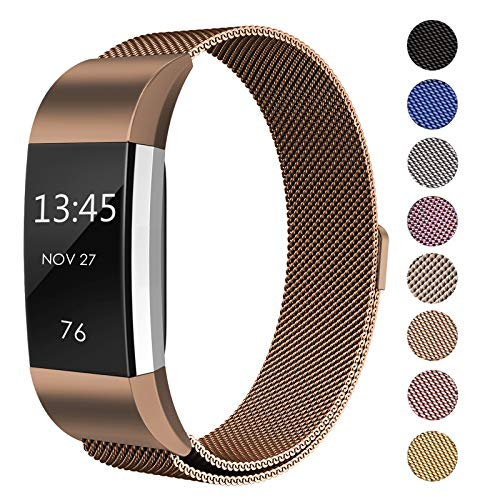 SWEES Metal Bands Compatible Fitbit Charge 2, Milanese Stainless Steel Metal Magnetic Replacement Wristband Small & Large (5.5 - 9.9) for Women Men, Silver, Champagne, Rose Gold, Black, Colorful