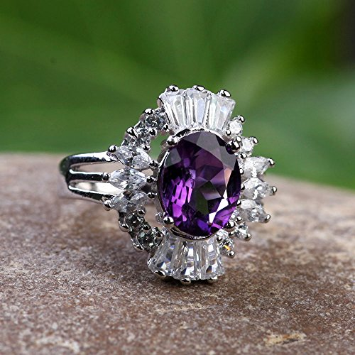 Marquise Tapered Ring (Beautiful Ring,center Amethyst 8x10mm ,Oval Shape/ Marquise ,FancyTapered baguette in side, 92.5 Sterling Silver Ring ,5.62 Gr.,B471.)