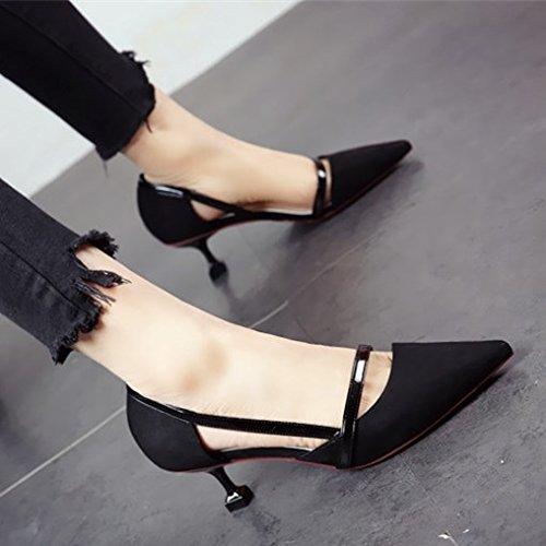 FLYRCX La primavera y el verano, personalidad de la moda tacones afilados zapatos de tacón superficialmente sexy lady parte solo zapatos Zapatos a