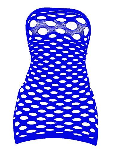 - LemonGirl Women's Mesh Lingerie for Women Fishnet Babydoll Mini Dress Free Size Bodysuit Blue