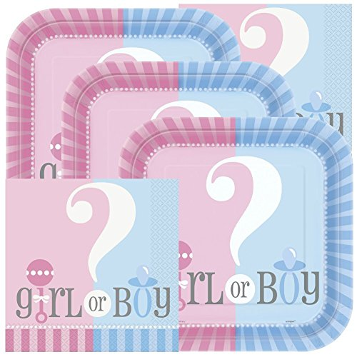 Gender Reveal Themed Baby Shower Napkins and Plates (Serves 32)