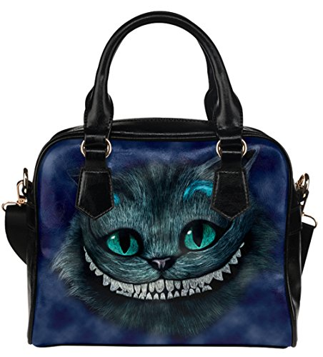 High-grade PU Leather Female Women Shell Shoulder Handbag Tote Bags with Alice In Wonderland Cheshire Cat Pattern