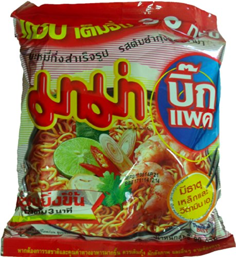 Mama Tom Yum Kung Thai Instant Noodle Shrimp Tom Yum Flavour Soup 90g. (12 packs)