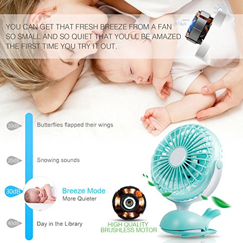 Battery Operated Clip Fan Stroller Fan for Baby Portable Silent USB Fan Mini Personal Desk Fan Cute Design Rechargeable Battery Fans Adjustable Tilt Quiet Operation for Treadmill Dorm Bed Tent Camp by Aikmi (Image #3)