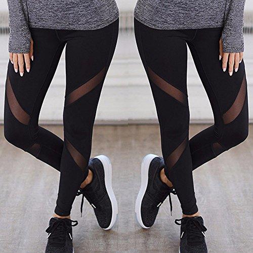 Large Product Image of KIWI RATA Women Sports Mesh Trouser Gym Workout Fitness Capris Yoga Pant Legging