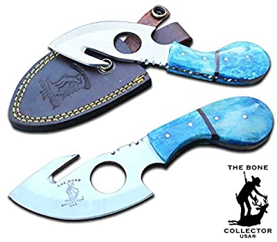 New Bone Collector BC 794 3 Colors Fixed Blade Skinning Knife with Leather Sheath 7 Inch Overall Red Yellow Blue Full Tang Saw Tooth Blade