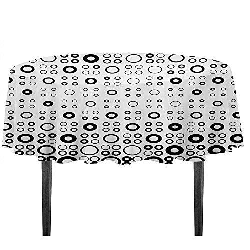 (kangkaishi Geometric Circle Printed Tablecloth Simple Vortex Disc Shaped Interior Ellipse Chord Lines Artwork Print Desktop Protection pad D43.3 Inch Black White)