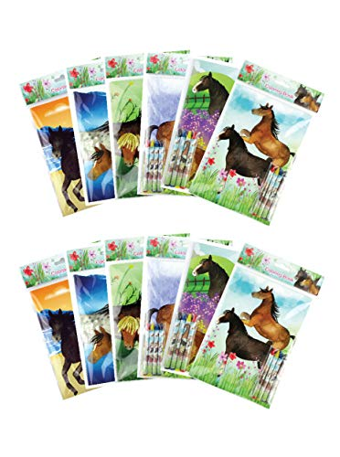 Horse Themed Parties (Horse and Pony Themed Coloring Books with Crayons Party Favors, Set of)