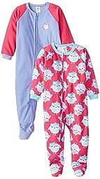 Gerber Little Girls\' Toddler 2 Pack Blanket Sleepers, Owl, 3T