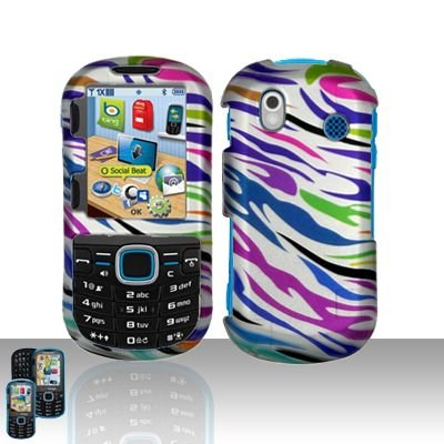 - Rainbow Zebra Rubberized Snap on Hard Protective Cover Case for Samsung Intensity 2 U460 + Microfiber Pouch Bag