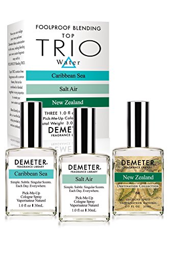 Demeter Fragrance Library Water Foolproof Blending Set - 3 Unique 1 oz Cologne Sprays - Caribbean Sea, Salt Air, New Zealand