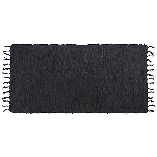 (Ojia Cotton Reversible Rag Rug Hand Woven Single Color Chindi Area Rug Entryway for Laundry Room Kitchen Bathroom Bedroom Dorm (2' x 3', Black) )