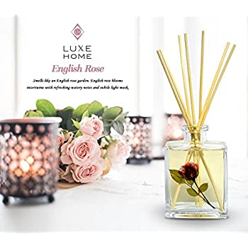 Luxe Home English Rose Fragrance Reed Diffuser Sticks Set | Beautiful Home Decor Scented Room Diffuser | Nice Gift for Mom, Wife, Grandma, Aunt or Co-Worker