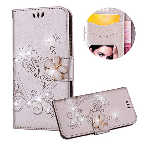 Samsung Galaxy S7 Edge Case,PU Leather Wallet Case for Samsung Galaxy S7 Edge,Moiky Luxury Gold 3D Butterfly Bling Rhinestone Embossed Love Heart Soft Leather Flip Magnetic Stand Shockproof Case - Embossed Gold Lip Inner