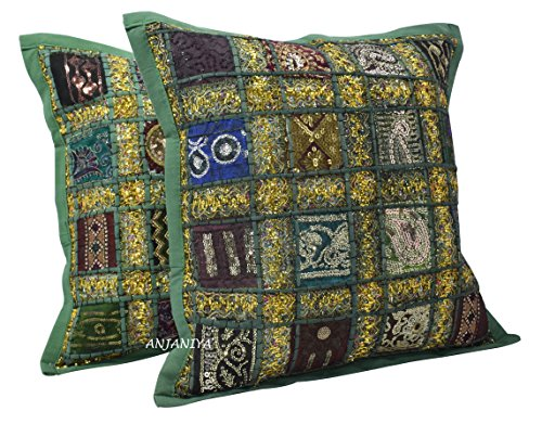 ANJANIYA 2 Embroidery Sequin Cushion Cover 16x16 inches Indian Boho Hippie Patchwork Throw Pillow Cushion Cover Decorative Bohemian Pillows Cotton Hand Embroidered Pillow Cases (Teal Green)