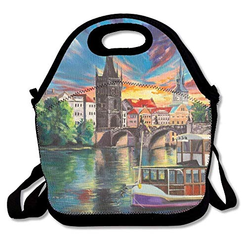Charle S Bridge in Prague in A Fantasy Sunset Over Vltava Original Acrylic Painting Prague S Funny Reusable Funny Lunchbox Lunch Tote Lunch Bag