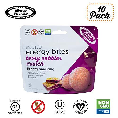 MetaBall Energy Bites  Berry Cobbler Crunch BiteSized Protein Snack Allergy Friendly Vegan Kosher GlutenFree 10pack 176 oz