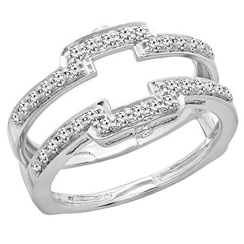 Dazzlingrock Collection 0.50 Carat (ctw) 14K Round Cut Diamond Wedding Enhancer Guard Double Band 1/2 CT, White Gold, Size ()