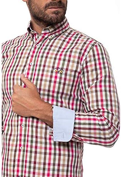 Spagnolo Camisa Gabardina Boton 0025, Cuadro Marron, Rosa ...