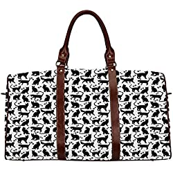 """Cat Waterproof Travel Bag,Black Silhouettes in Different Positions Friendly Furry Feline Domestic Pet Figures Decorative for Travel,18.62""""L x 8.5""""W x 9.65""""H"""