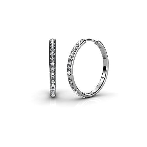 3ba3eb5bea Thalie Women's Round Hoop Earring 18k White Gold Swarovski Crystals:  Amazon.ca: Jewelry