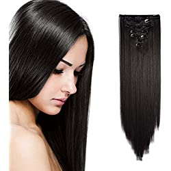 "Onedor 24"" Straight Synthetic Clip in Hair Extensions. 7 individual pieces for multiple styles.140g (2#-Darkest Brown)"