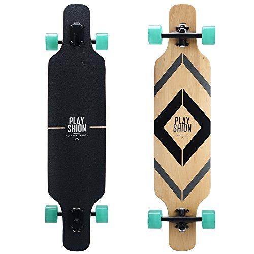 Playshion Freeride Freestyle Drop Through Longboard Skateboard (Skateboard For Girls Longboard)