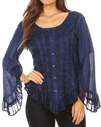 Sakkas 1666 - Aura Womens Casual Ruffle Flare Crop Top Blouse Long Sleeves w/Embroidery - Blue - -