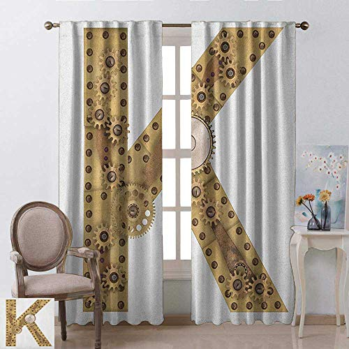 youpinnong Letter K, Curtains Light Blocking, Letter with Cyberpunk Industry Theme Design Cogwheels Brass in Vintage Style Image, Curtains for Bedroom, W108 x L96 Inch, Sand Brown