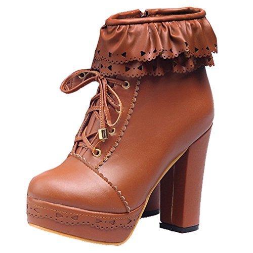 YE Damen Chunky Plateau High Heels PU Leder Schnür Stiefeletten mit Blockabsatz Reißverschluss Retro Elegant Herbst Winter Schuhe Short Ankle Boots Braun