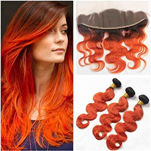 Orange Bundle - Tony Beauty Hair Dark Rooted Ombre Orange Brazilian Human Hair Weave Bundles with Full Frontals Body Wave 1B/Orange Two Tone Ombre 3 Bundle Deals with Lace Frontal Closure 13x4 (20 22 24+18)