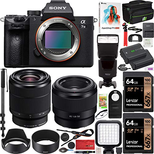 Sony ILCE-7M3K/B a7III Full Frame Mirrorless Camera with SEL2870 FE 28-70 mm F3.5-5.6 OSS Lens Bundle with SEL50F18F FE 50mm F1.8 Lens, 2X 64GB Memory, Deco Gear Case and Accessories (15 Items)
