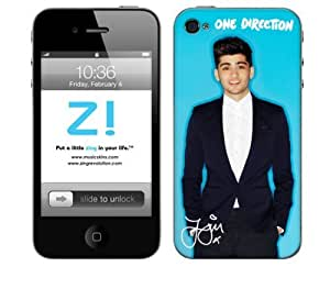 Zing Revolution One Direction Premium Vinyl Adhesive Skin for iPhone 4/4s - Retail Packaging - Zayn Blue Bright