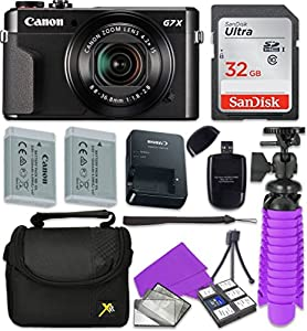 Canon PowerShot G7 X Mark II Wi-Fi Digital Camera with Sandisk 32 GB SD Memory Card + Extra Battery + Tripod + Case + Card Reader + Cleaning Kit