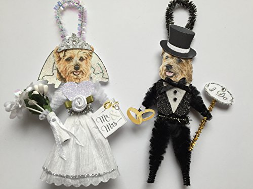 (Norfolk Terrier BRIDE & GROOM WEDDING ORNAMENTS Vintage Style Chenille Ornaments Set of 2)