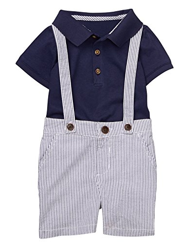 Gymboree Baby Boys Seersucker Short Set, Navy, 12-18 (Blue Seersucker)