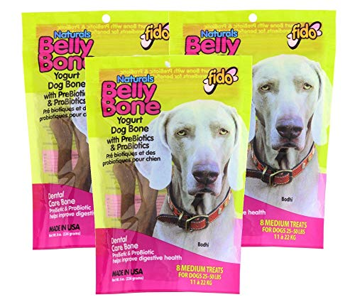 Fido Dental Care Belly Bones for Dogs, Yogurt Flavor - 8 Medium Treats Per Pack, Pack of 3 - Safely Digestible Chew that Promotes Plaque and Tartar Control-Helps to Support Your Dog's Digestive Health (Best Yogurt For Digestive Health)